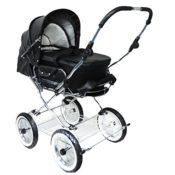 Luxus Kinderwagen Eichhorn mit Leder schwarz/weiß
